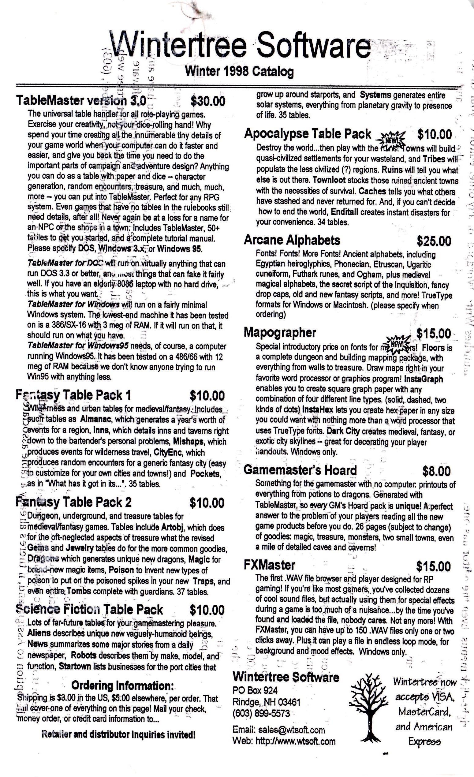 Winter 1998 Catalog